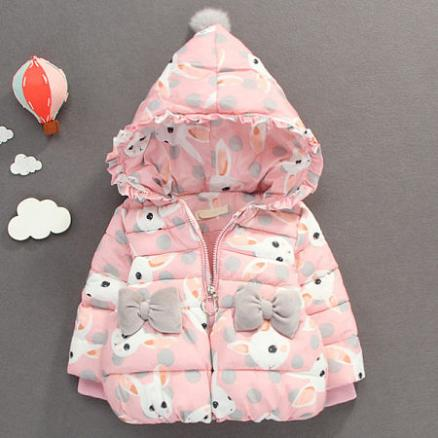 Thickened Bowknot Decorated Bunny Prints Hooded Coat (3997120)