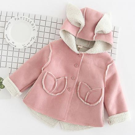 Thickened Bunny Ear Button Hooded Outerwear (4007998)