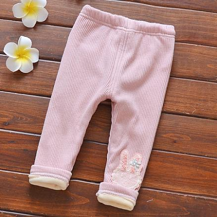 Thickened Bunny Pattern Elastic Waist Pants (3975481)
