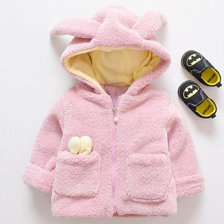 Thickened Plush Bunny Ear Zipper Hooded Outerwear (4014223)