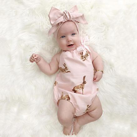 Bunny Print Backless Halter Neck Romper With Hairband (4347208)