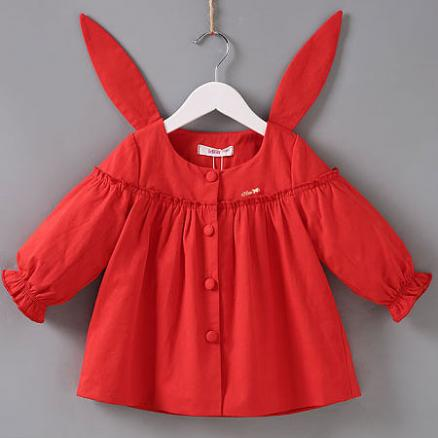 Solid Red Bunny Ear Button Outerwear (4130973)