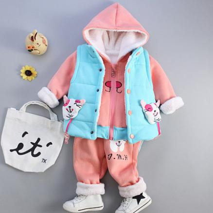 Thickened Cartoon Cat Pattern Color Block Hooded Set (4023431)