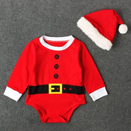 Santa's Christmas Romper With Cap (3987250)