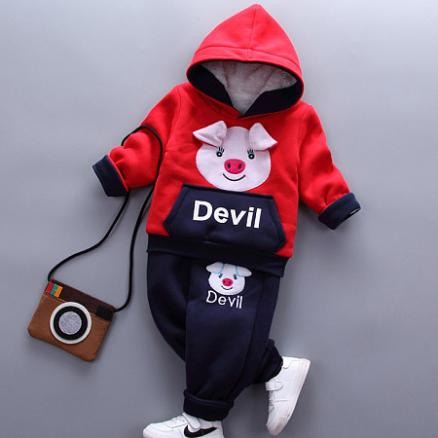 Thickened Cartoon Pig Pattern Color Block Hooded Set (3990022)