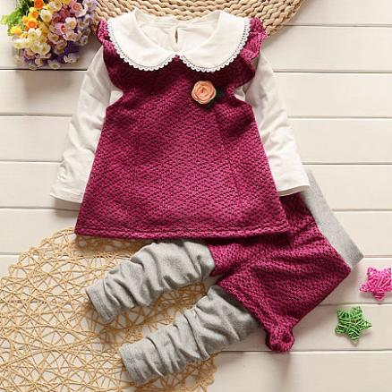 Flower Decorated Fake-Two-Piece Doll Collar Fly Sleeve Set (4043563)
