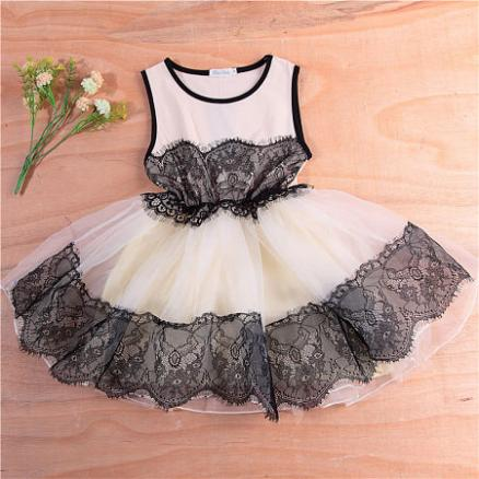 Lace Tulle Girls Sleeveless Princess Daily Dress (3438105)