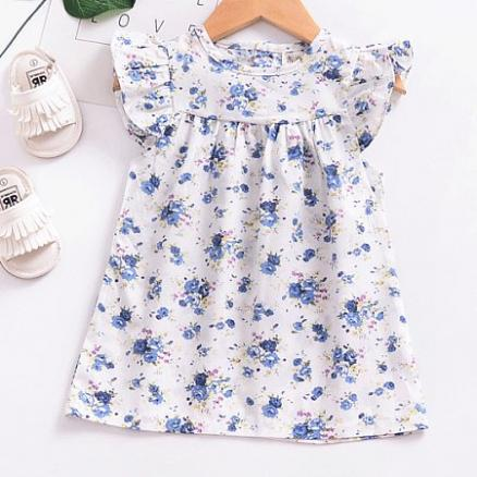 Floral Prints Fly Sleeve Back Button Dress (4444362)