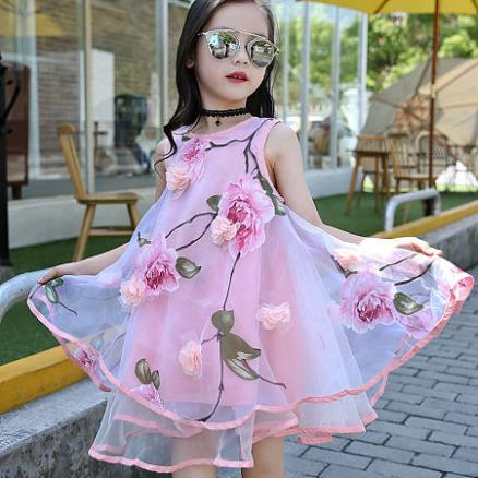 Flower Decorated Sleeveless Tulle Dress (4091260)