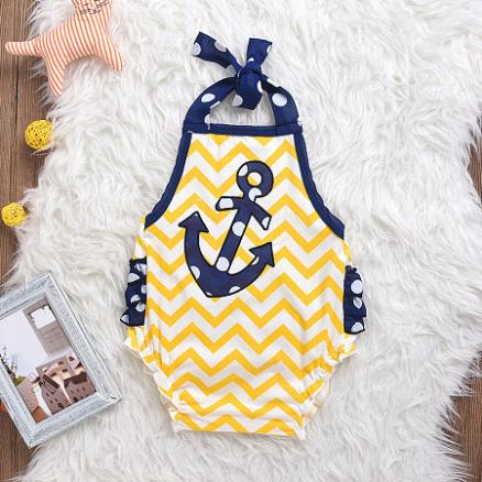 Anchor Pattern Boys Girls Rompers (3580866)