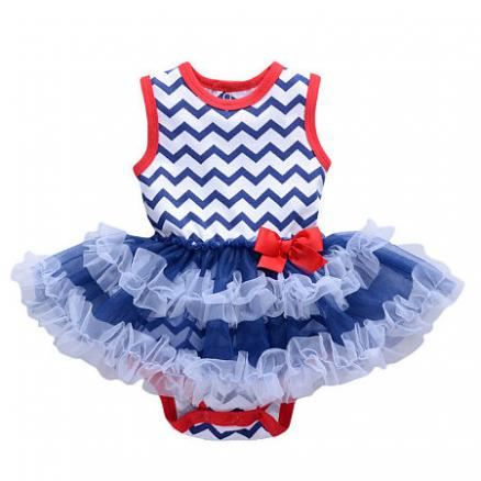 Girls Wave Stripe Bowknot Tutu Style Rompers (3437926)