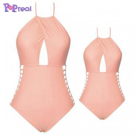 Mom Girl Solid Color One Piece  Matching Swimwear (4456140)