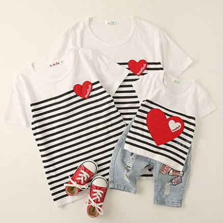 Stripes Heart Pattern Round Neck Family T-Shirt (4284614)