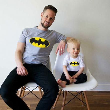 Batman Pattern Round Neck Family T-Shirt (4244753)
