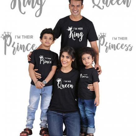 Letters Pattern Round Neck Family T-Shirt (4412923)