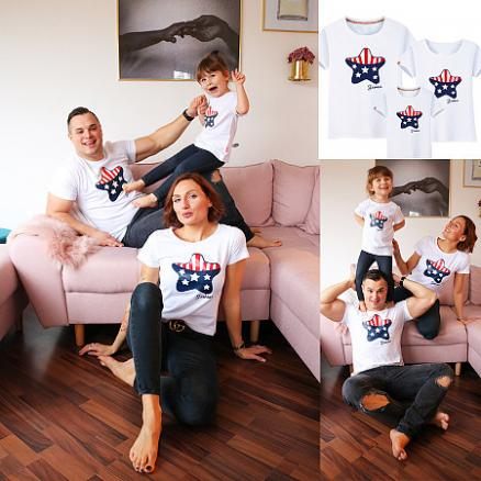 Letters Star Pattern Family T-Shirt (4289671)