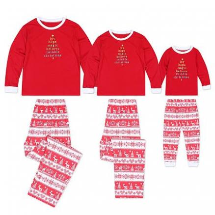 Striped Christmas Snowflake Reindeer Print Set Family Pajamas (4949242)