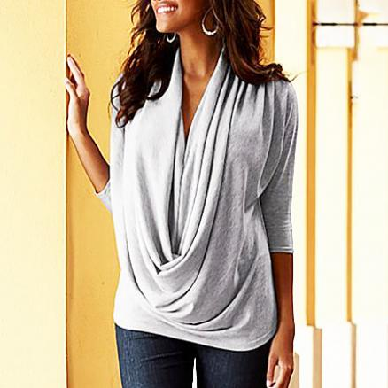 Irregular Collar 3/4 Sleeve Tee (4145941)
