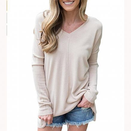 V-Neck Long Sleeve Pullover (4145142)