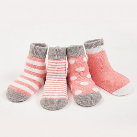 Stripe Color Block Cotton Socks By Four Pairs (3959273)