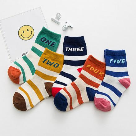 Stripes Letters Pattern Socks By Five Pairs (4850459)