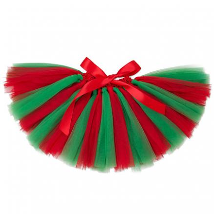 Christmas Contrast Color Tulle Skirt (4036678)