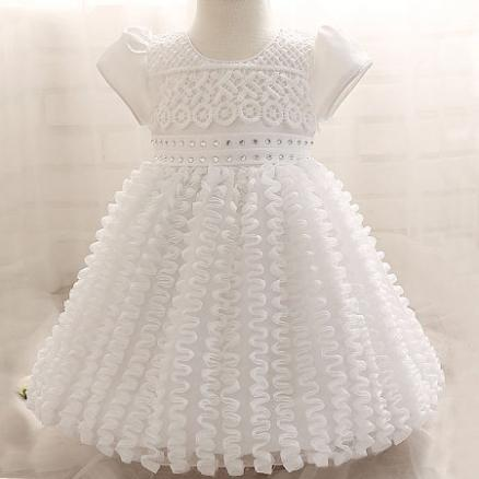 Ripple Decorated Opening Baby Girls Princess Dress (3436031)