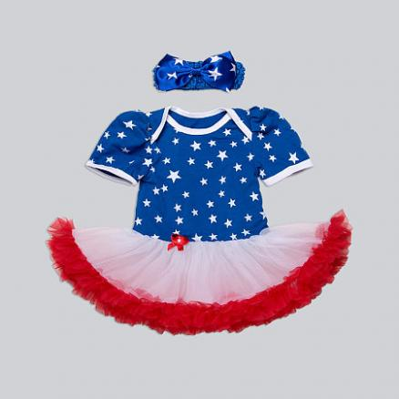 Star Prints Tutu Dress With Hairband (3616475)