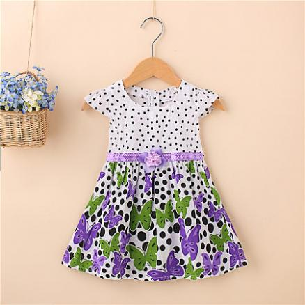 Butterfly Prints Polka Dots Girls Summer Dress (3434256)