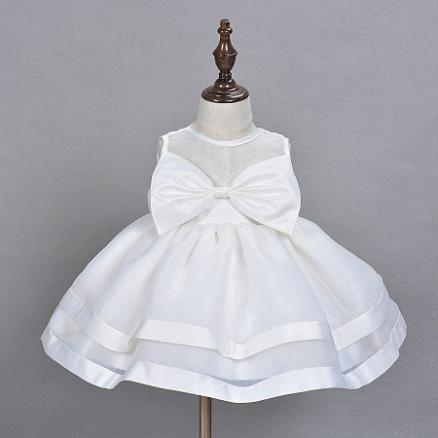 White Graceful Bowknots Tulle Baby Girls Princess Dress (3425687)