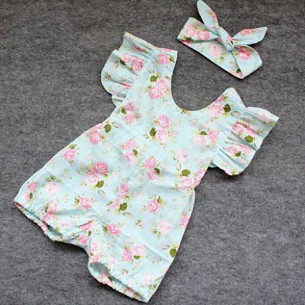 Girls Floral Printed Toddler Romper With Hairband (3433550)