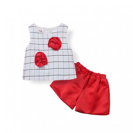 Girls Plaids Flower Decorated Two Pieces Set (3641094)