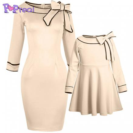 Mom Girl Bowknot Decorated Zipper Back Matching Dress (4120225)