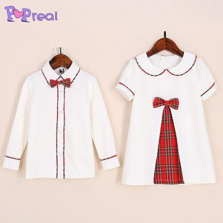 Plaid Bowtie Decorated Shirts For Boy And Bowknot Decorated Dress For Girl (4817227)