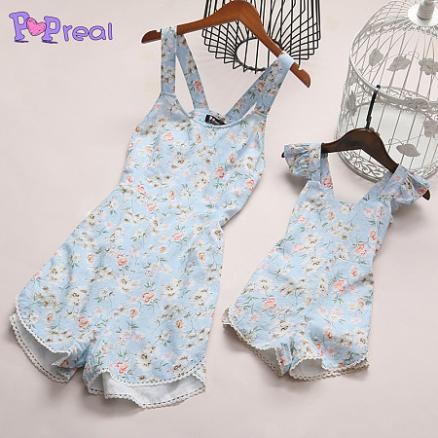 Mom Girl Light Blue Small Blossom Print Jumpsuit (3651837)