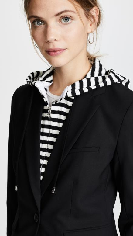 Veronica Beard Schoolboy Jacket with Striped Dickey
