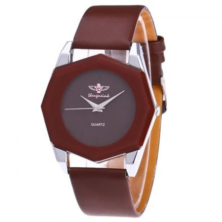 Faux Leather Octagon Watch