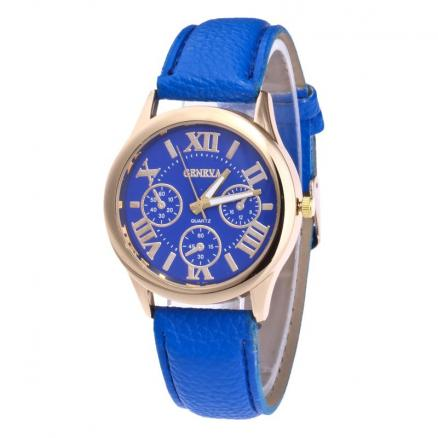 Roman Numeral Faux Leather Strap Watch