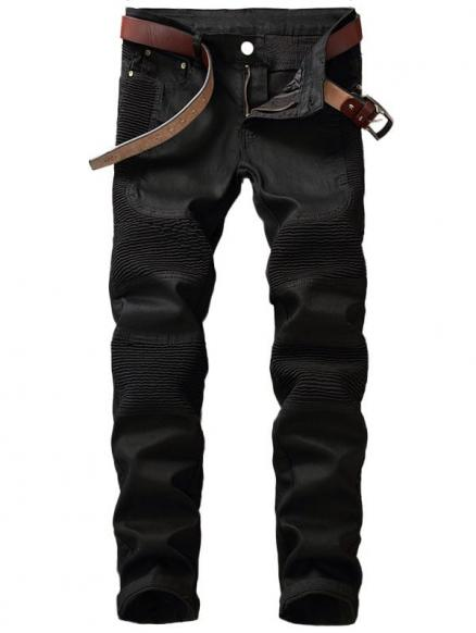 Slim Fit Zipper Fly Biker Jeans
