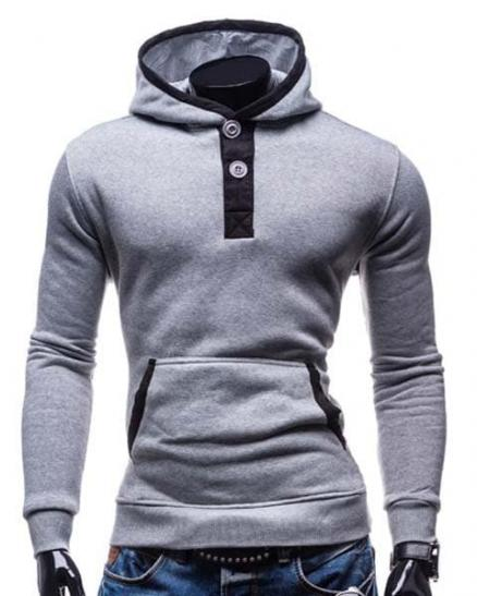 Slimming Hooded Modish Color Block Splicing Button Design Long Sleeve Cotton Blend Men's Hoodie