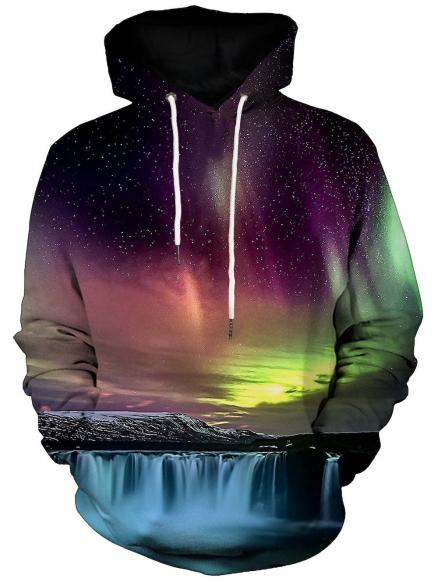 Waterfall and Aurora Print Kangaroo Pocket Hoodie