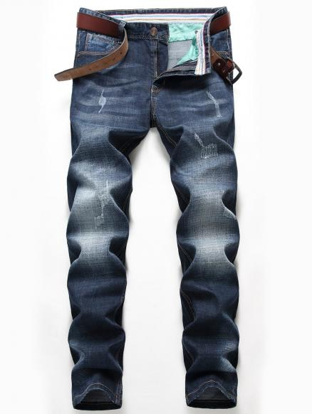Straight Leg Zip Fly Whisker Faded Jeans