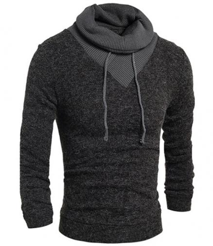 Personality Drawstring Turtleneck Color Block Spliced Long Sleeves Men's Slimming Thicken Sweater