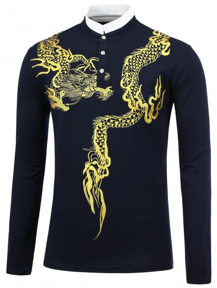 Stand Collar Dragon Print Shirt