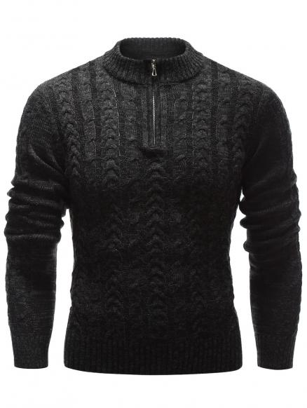 Half Zip Up Stand Collar Cable Knit Sweater