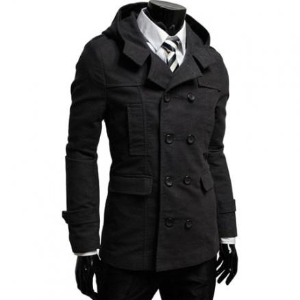 Casual Style Solid Color Hooded Double-Breasted Long Sleeves Polyester Coat For Men