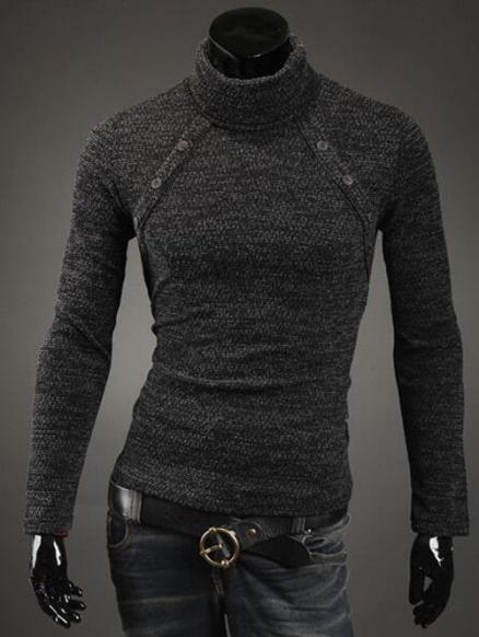 Button Adorn Turtleneck Sweater