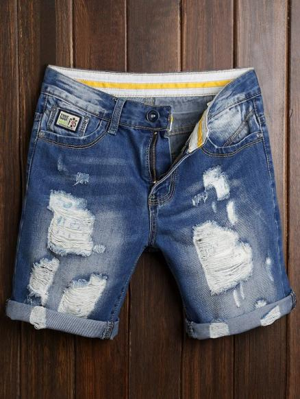 Ripped Zip Fly Cuffed Denim Shorts