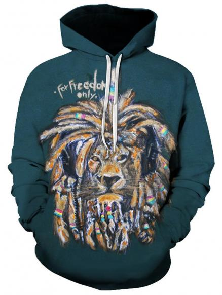 3D Graphic Lion Print Pullover Hoodie