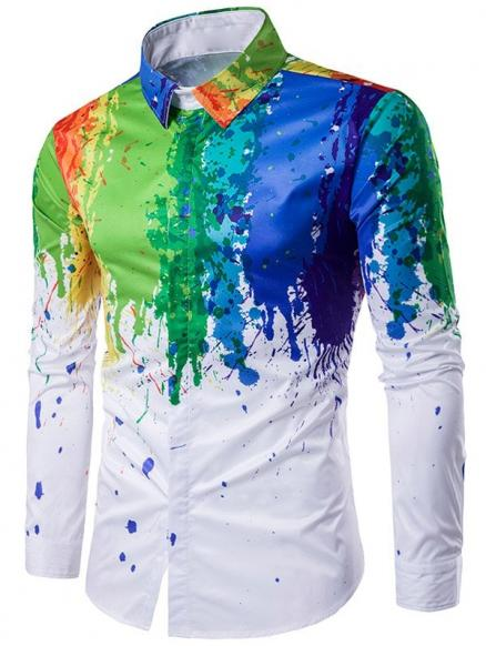 Turndown Collar Colorful Splatter Paint Printed Long Sleeve Shirt